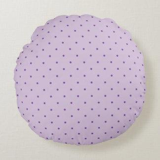 Tiny Purple Polka-Dots on Light Purple Pillow Round Pillow