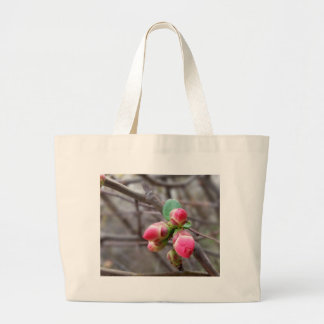 tiny red buds large tote bag