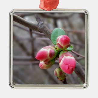 tiny red buds metal ornament