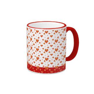 Tiny Red Hearts Valentines Day Love Ringer Coffee Mug