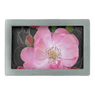tiny rosebud opens rectangular belt buckle
