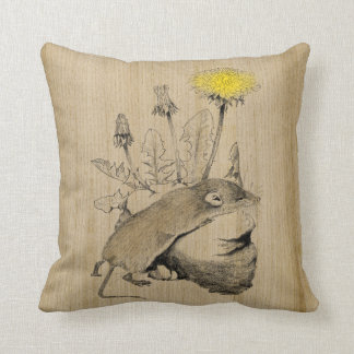 Tiny Shrew Beneath a Dandelion Throw Pillow