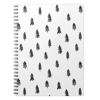 Tiny snowy forest print notebooks