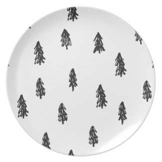 Tiny snowy forest print plates