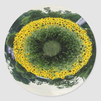 Tiny Sunflower Planet Classic Round Sticker