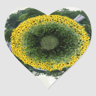 Tiny Sunflower Planet Heart Sticker
