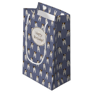 Tiny Terriers Jack Russell pattern blue birthday Small Gift Bag
