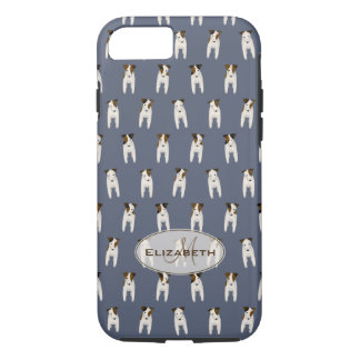 tiny terriers patterned name monogram blue iPhone 8/7 case