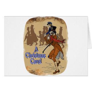 Tiny Tim on Bob Crachit's shoulder Greeting Card