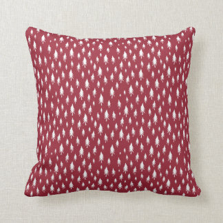 Tiny Trees Cranberry Red Holiday Throw Pillow
