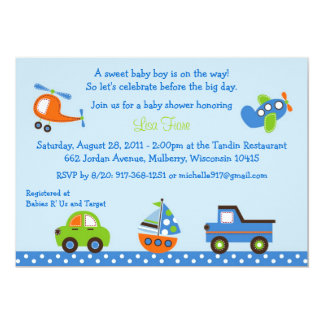Tiny Trips Transportation Baby Shower Invitations