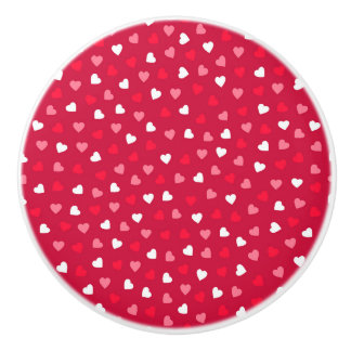 Tiny Valentine Hearts in Red White Pink Ceramic Knob
