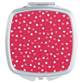 Tiny Valentine Hearts in Red White Pink Compact Mirror