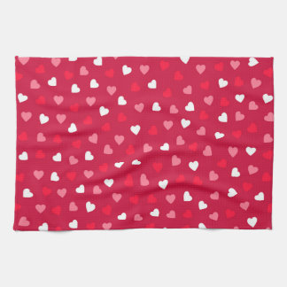 Tiny Valentine Hearts in Red White Pink Kitchen Towel
