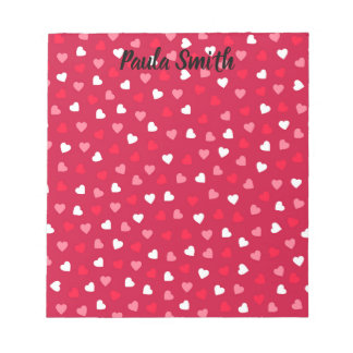 Tiny Valentine Hearts in Red White Pink Notepad