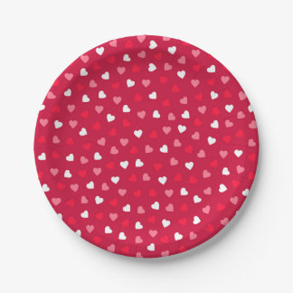 Tiny Valentine Hearts in Red White Pink Paper Plate