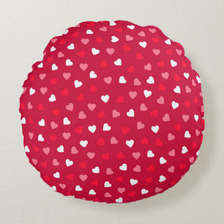Tiny Valentine Hearts in Red White Pink Round Pillow