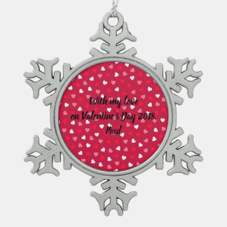 Tiny Valentine Hearts in Red White Pink Snowflake Pewter Christmas Ornament