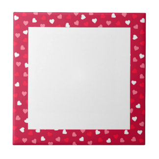 Tiny Valentine Hearts in Red White Pink Tile