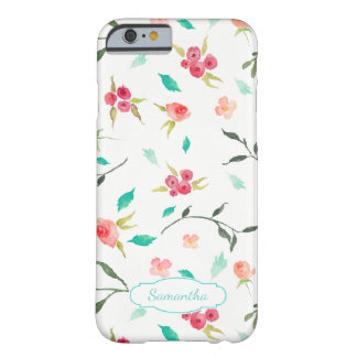 Tiny Watercolor Floral Pattern with Name Barely There iPhone 6 Case