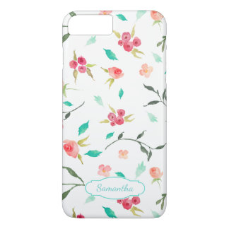 Tiny Watercolor Floral Pattern with Name iPhone 7 Plus Case