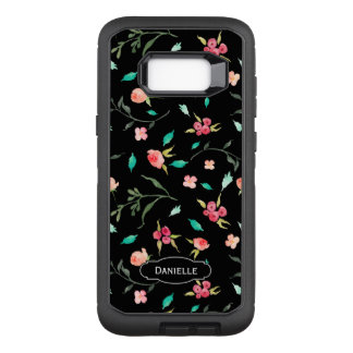Tiny Watercolor Floral Pattern with Your Name OtterBox Defender Samsung Galaxy S8+ Case