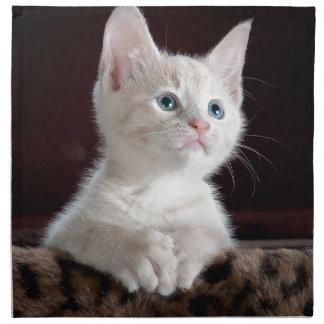 Tiny White Kitten Napkin