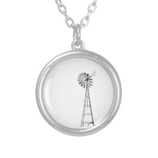 tiny windmill small round necklace