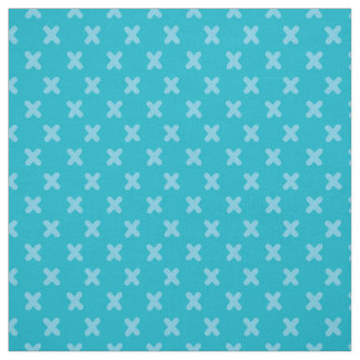 Tiny Xs in Turquoise Blue Fabric