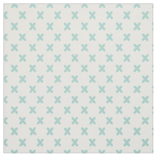 Tiny Xs Mint Green on White Fabric
