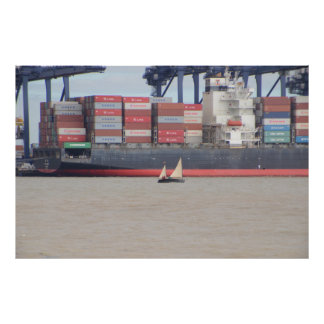 Tiny Yacht  And Huge Container Ship Poster
