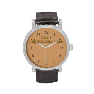Tiny's Cappuccino Cafe Logo Wrist Watches