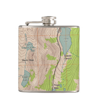 Tioga Pass, California Topographic Map Hip Flask