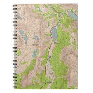 Tioga Pass, California Topographic Map Spiral Notebook