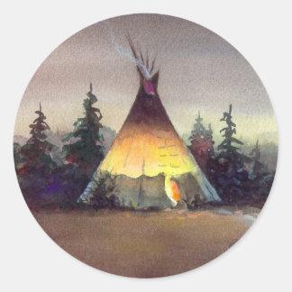 TIPI LIGHTS by SHARON SHARPE Classic Round Sticker