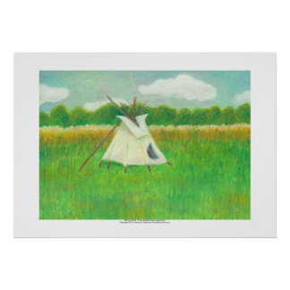 Tipi teepee central Minnesota landscape drawing Print