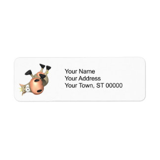 Tipped Over Cow Custom Return Address Labels