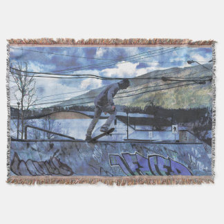 Tipping Point - Skate-boarder Outdoor Sports Throw Blanket