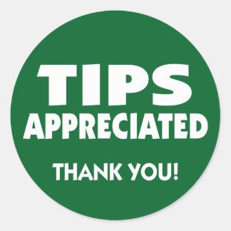 Tips appreciated tipping reminder round sticker