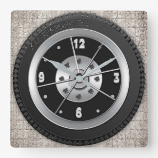 Tire Clock - Square Background -Brown Faux Texture