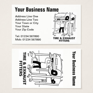 Tire & Exhaust Fitters Cartoon Business Card