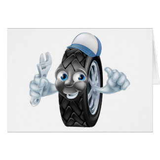 Tire mechanic cartoon character card