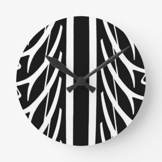Tire Pattern in Black and White Round Clock