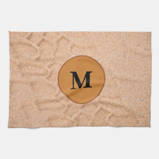 Tire Tracks In The Sand with Custom Monogram Kitchen Towel