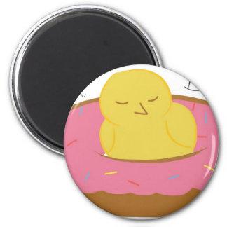 Tired Donut Bird 2 Inch Round Magnet