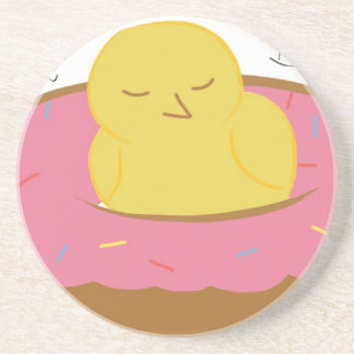 Tired Donut Bird Beverage Coasters