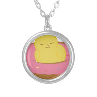 Tired Donut Bird Silver Plated Necklace
