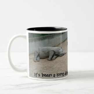 Tired Laying Rhino It's been a long day! Left Hand Two-Tone Coffee Mug