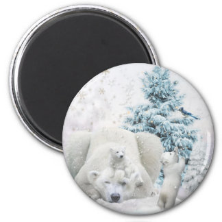 Tired Polar Bear Mother With Babies 2 Inch Round Magnet