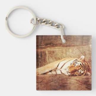 Tired Tiger Keychain